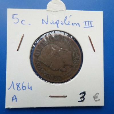 5 centimes napoleon iii 1864 a